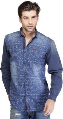 SEVEN STITCHES Men's Graphic Print Casual Denim Multicolor Shirt