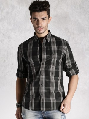 Roadster Men's Checkered Casual Black Shirt
