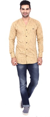 Coloroid Men's Printed Casual Black, Beige Shirt