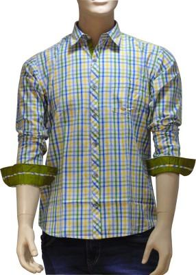EXIN Fashion Men's Checkered Casual Green, Blue, Yellow Shirt