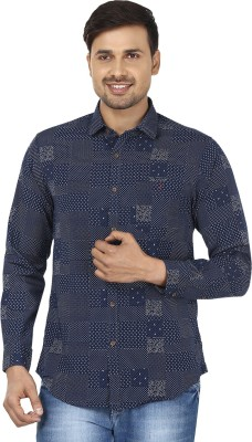 Wills Lifestyle Men's Printed Casual Blue, White Shirt