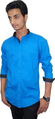 Ali Darzi Men's Solid Casual Blue Shirt