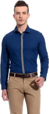 Bolt Men's Solid Casual Dark Blue Shirt