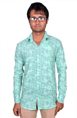 Royal Fashion Men's Floral Print Casual Green Shirt
