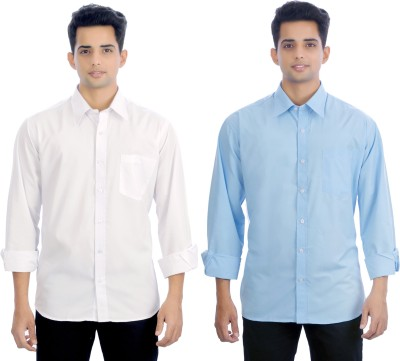 Atmosphere Men's Solid Formal White, Light Blue Shirt