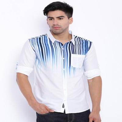Le Bison Men's Solid Casual Dark Blue Shirt