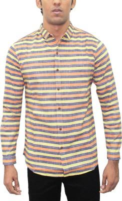 Kuons Avenue Men's Striped Casual Linen Multicolor Shirt