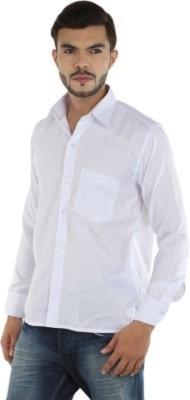 MAKHKHA Men's Solid Formal White Shirt