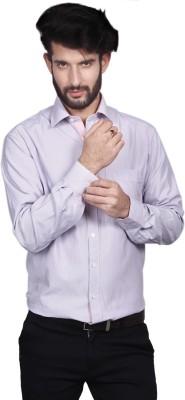 Yorkshire Men's Striped Formal Purple Shirt