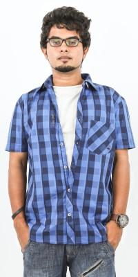 Argyle Men's Checkered Casual Dark Blue, Light Blue Shirt