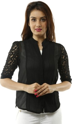 Lynda Women's Solid Casual Black Shirt