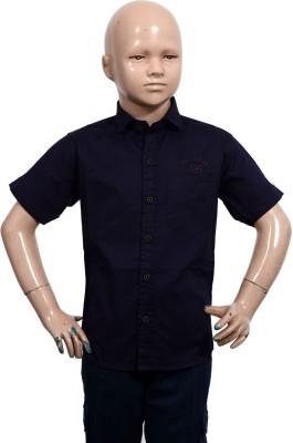 Puppet Nx Boy's Solid Casual Dark Blue Shirt