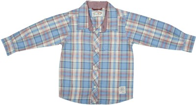 Wow Mom Baby Girl's Checkered Casual Blue Shirt