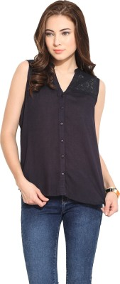 Free & Young Women's Solid Casual Dark Blue Shirt