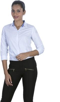 Elle Et Lui Womens Checkered Formal Light Blue Shirt