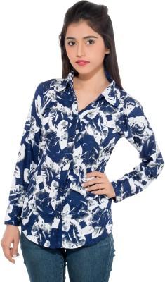 Membooz Women's Printed Casual Blue, White Shirt