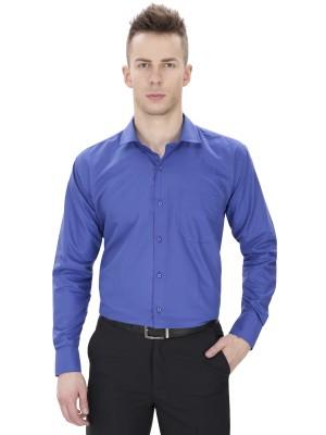 Regal Fit Plus Men's Solid Formal Blue Shirt