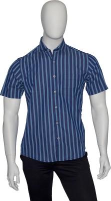 Cotton Natural Men's Striped Casual Blue Shirt