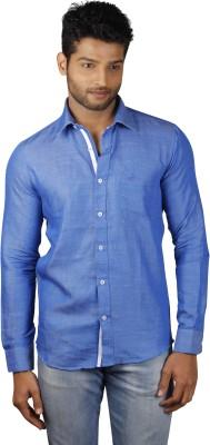 V Seven Men's Solid Casual Linen Light Blue Shirt