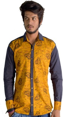 Sharp Fashion Men's Printed Casual Yellow Shirt