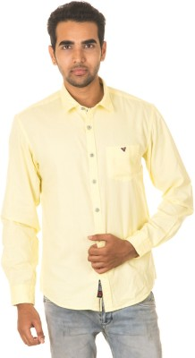West Vogue Men's Solid Casual Yellow Shirt
