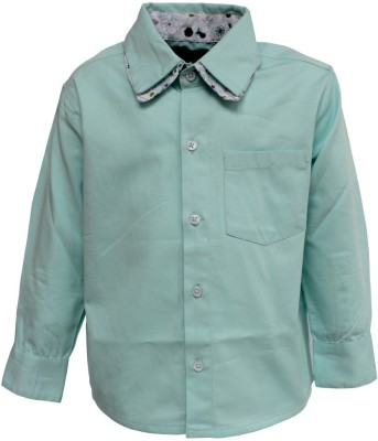 A Little Fable Boy's Solid Party Green Shirt