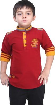 BAD BOY Boy's Solid Casual Maroon Shirt