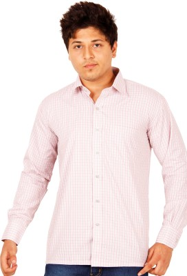 Crocks Club Men's Checkered Casual White, Pink Shirt