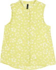 United Colors of Benetton Girls Floral Print Casual Yellow Shirt