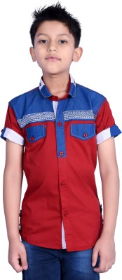 iloMilo Boy's Printed Casual Red Shirt