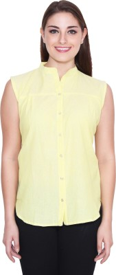NumBrave Women's Solid Casual Yellow Shirt