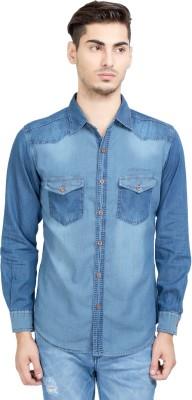 Riot Jeans Men's Solid Casual Denim Dark Blue Shirt