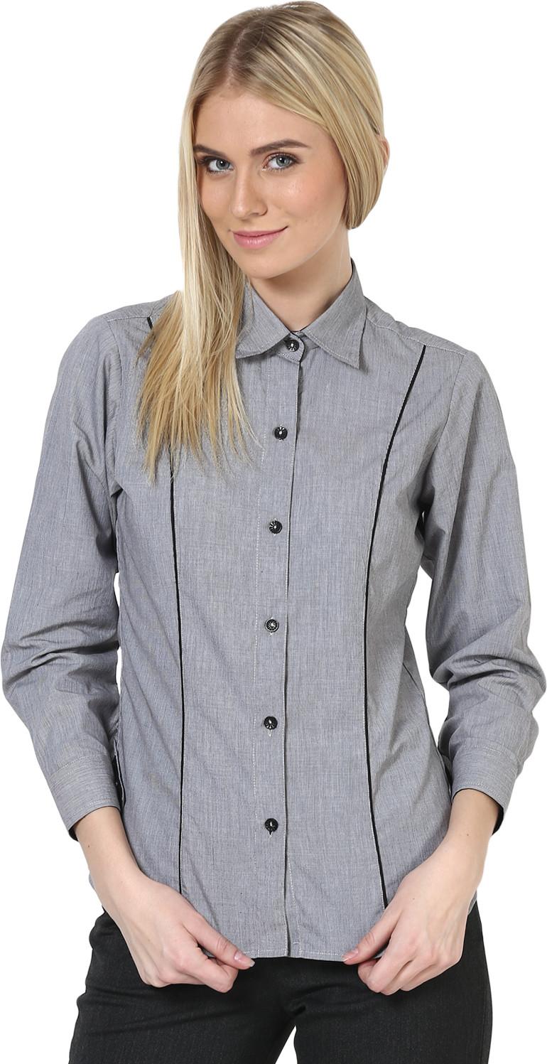 Dazzio Womens Solid Formal Grey, Black Shirt