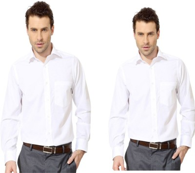 Try Me Men's Solid Formal White Shirt