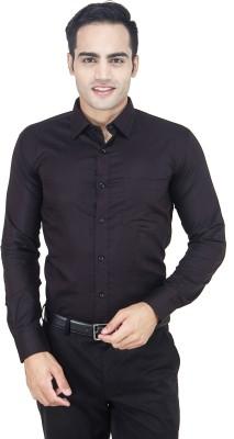 Euromens Men's Solid Formal Black Shirt