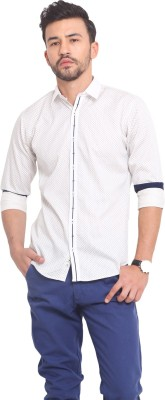 Exitplay Men's Printed Casual White, Blue Shirt