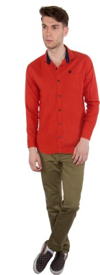 Nine Club Men's Solid Casual Orange Shirt