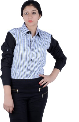 S9 Women's Checkered, Solid Casual Black, White, Blue, Green Shirt