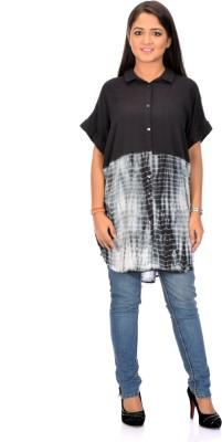 Instinct Women's Self Design Casual Black, Grey Shirt