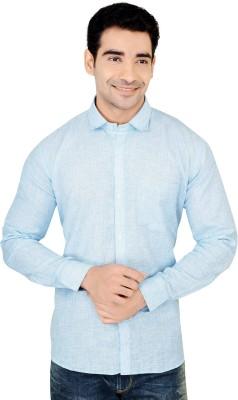X-Secret Men's Self Design Formal Light Green Shirt