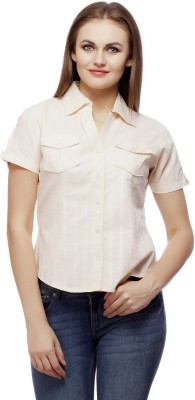 ABIDA Women's Checkered Casual Beige Shirt