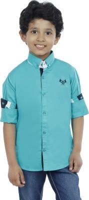 OKS Boys Boy's Solid Casual Blue Shirt