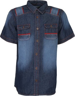 Bells and Whistles Boy's Solid Casual Blue Shirt