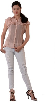 Fashnopolism Women's Self Design Casual Pink Shirt