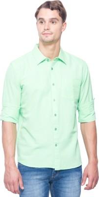 Shield & Sword Men,s Solid Casual Linen Light Green Shirt