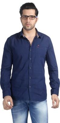 Nostrum Jeans Men's Solid Casual Dark Blue Shirt