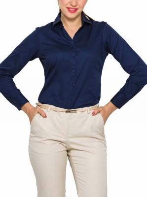 Park Avenue Women,s Solid Formal Dark Blue Shirt