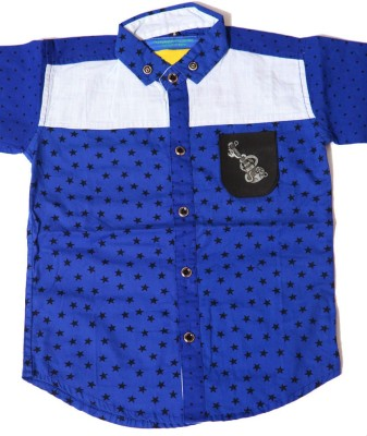 Kidicious Boy's Printed Casual Blue, Black, White Shirt