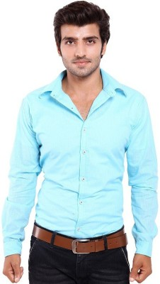 Chaman Handicrafts Men's Solid Casual Light Blue Shirt
