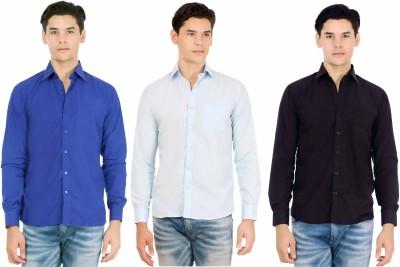 Atmosphere Men's Solid Casual Dark Blue, Light Blue, Black Shirt